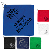 """The Wedge"" 300GSM Heavy Duty Microfiber Golf Towel with Metal Grommet and Clip 12""x12"""