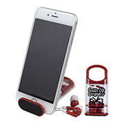 """Excell"" Earbud Headphones, Phone Cleaner and Phone Stand in Carabiner Case"