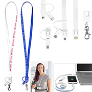 """Layton"" 3-in-1 Lanyard Cell Phone Charging Cable with Type C Adapter"