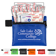 """Riverside"" 13 Piece First Aid Kit Components inserted into Zipper Pouch"