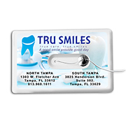"""Happy Checkup"" 44 Yard Credit Card Size Dental Floss Dispenser with Mirror and Pouch"