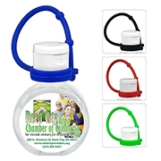 """CirPal Connect"" 1 oz Compact Hand Sanitizer Antibacterial Gel in Round Flip-Top Squeeze Bottle with Colourful Silicone Leash"