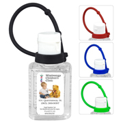 """SanPal Connect"" 1.0 oz Compact Hand Sanitizer Antibacterial Gel in Flip-Top Squeeze Bottle with Colourful Silicone Leash"