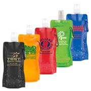 """Roll Up"" 18 oz Foldable and Reusable Water Bottle with Matching Carabiner"