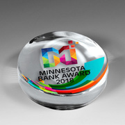 "8508S (Screen Print), 8508P (Full Color)-Prestige Round Glass Paperweight Award  - 2 7/8"" L x 2 7/8"" W x 1""H"