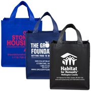 "12"" W x 14-1/2"" H - 80GSM Non-Woven Large Imprint Super Grocery Shopping Tote Bag"