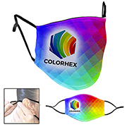 Full Colour Sublimation 3-Ply Washable & Reusable Cotton/Polyester Face Mask with Ear Loop Adjusters