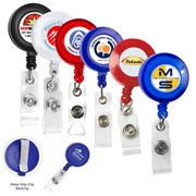 """Lorain VL"" 30"" Cord Round Retractable Badge Reel and Badge Holder with Metal Slip Clip Backing"