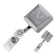 "32"" Cord Square Chrome Solid Metal Retractable Badge Reel and Badge Holder with Laser Imprint Only"