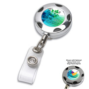 "32"" Cord Round Chrome Solid Metal Sport Retractable Badge Reel & Badge Holder with Full Colour Vinyl Label Imprint*"
