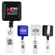 """Kent VL"" 30"" Cord Square Retractable Badge Reel and Badge Holder with Metal Slip Clip Backing"