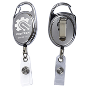 """Pataskala"" 30"" Cord Shiny Chrome Finish Solid Metal Retractable Badge Reel and Badge Holder with Laser Imprint (Patent D539,122)"