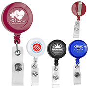"""Lorain VL"" 30"" Cord Round Retractable Badge Reel and Badge Holder with Metal Slip Clip Attachment"
