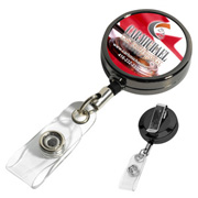 "30"" Cord Gunmetal Coloured Solid Metal Retractable Badge Reel and Badge Holder with Full Colour Vinyl Label Imprint"