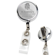 "30"" Cord Chrome Solid Metal Retractable Badge Reel and Badge Holder with Laser Imprint Only"