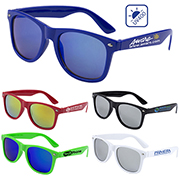 """Clairemont"" Coloured Mirror Tint Lens Sunglasses with High Gloss Frame"