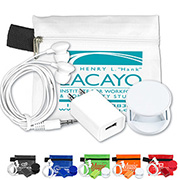 Mobile Tech Auto and Home Charging Kit w/Earbuds in Pouch