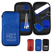 """TravPouch Plus"" Travel Kit includes Tech Components as listed below and as shown inserted into Polyester Zipper Pouch"
