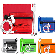 """ReCharge Plus"" Mobile Tech Charging Cables and Earbud Kit in Zipper Pouch Components inserted into Polyester Zipper Pouch"