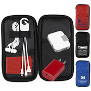 """TravPouch"" TK149 Deluxe Cell Phone Charging and Accessory Travel Kit as shown inserted into Polyester Zipper Pouch"